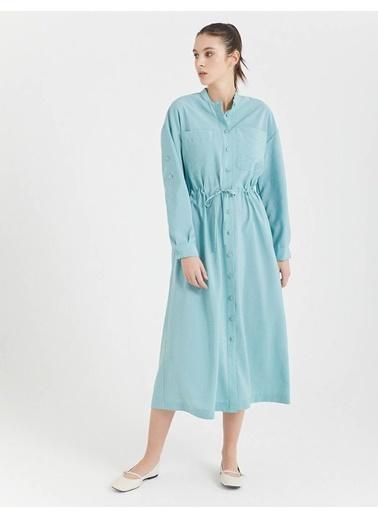 BGN Su Yeşili - Uzun Gömlek Elbise Yeşil